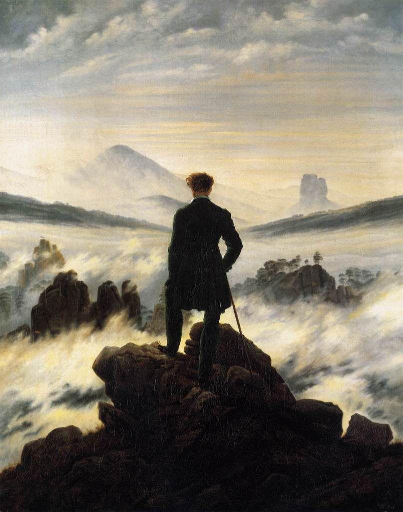 Caspar David FRIEDRICH, Le Voyageur au-dessus de la mer de nuages, 1817-1818, huile sur toile, Hambourg