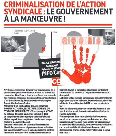 Criminalisation de l'action Syndicale