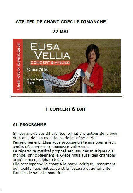 Atelier de chant grec et concert Elisa Vellia - dimanche 22 mai 2016