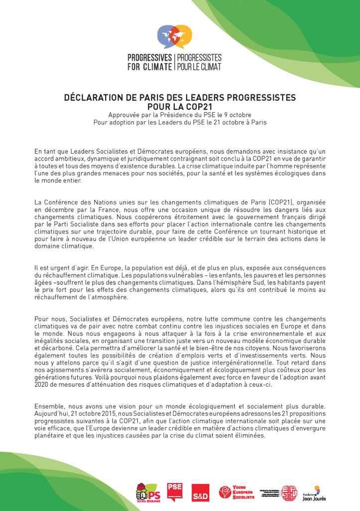 COP21 : Les 21 propositions des leaders progressistes !