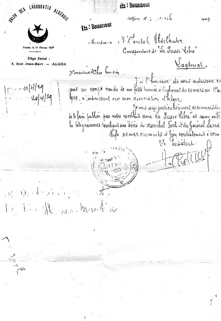 L'association des Laghouatis d'Alger de 1929.