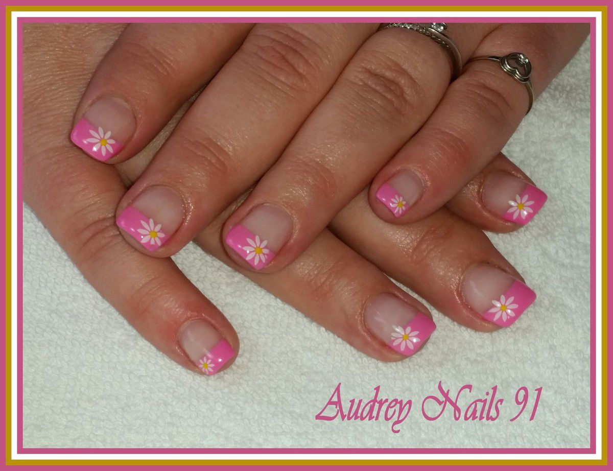 French rose barbie + paquerettes au stamping