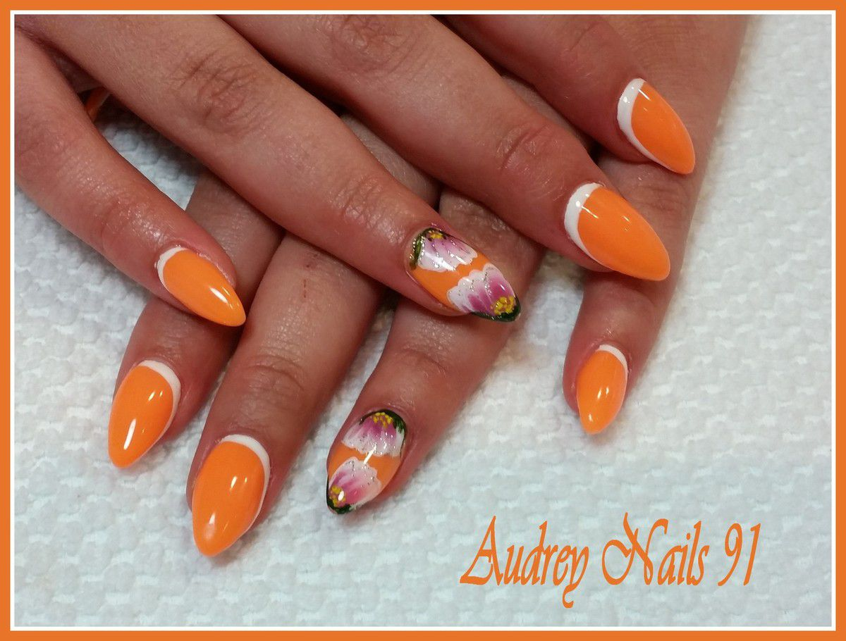 Stilleto orange fluo et one stroke rose et blanc