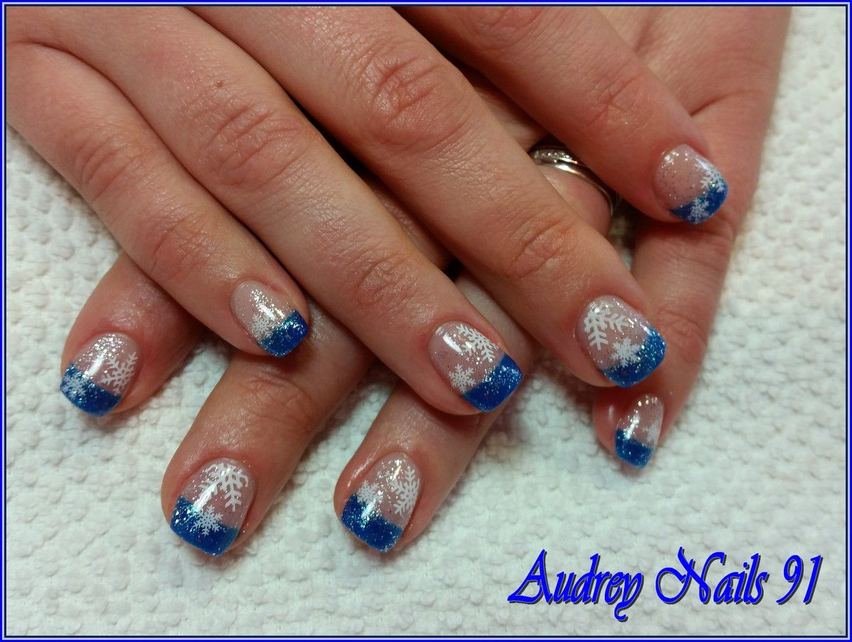 French bleu (Deep) + stamping flocon + paillette argent
