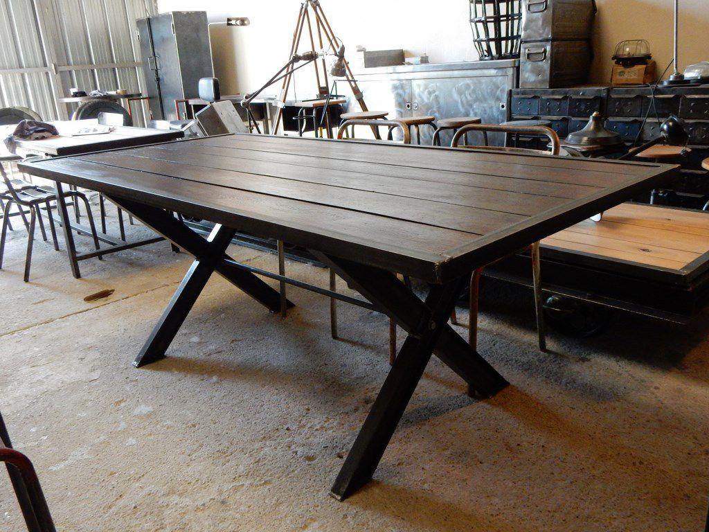 Table m tal bois pieds en x geonancy design - Pied de table metal design ...