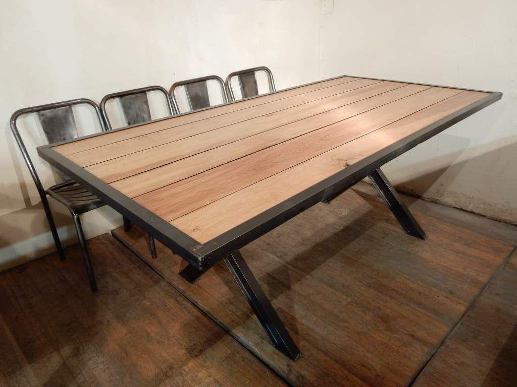 grande table design industriel pieds en x geonancy design. Black Bedroom Furniture Sets. Home Design Ideas