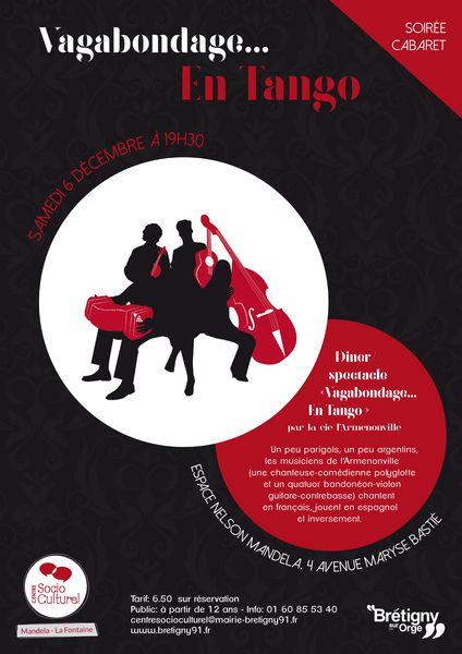 """SOIRÉE CABARET """"Tango!"""", Samedi 6 décembre 19h30 à Brétigny sur Orge (91)"""