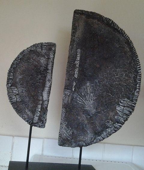 Les 2 cercles de Françoise, easy3dflex, bister, powertex noir, ivoire, Acrylique argent vallejo