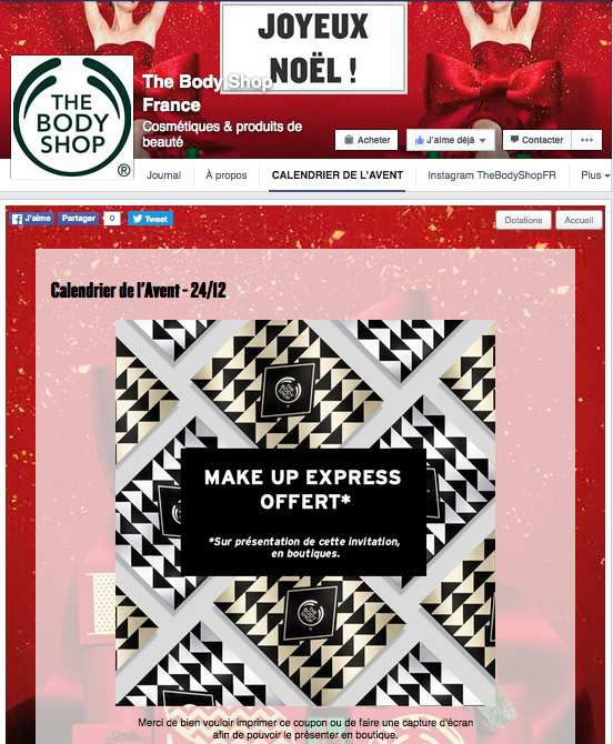 Un maquillage express gratuit The Body Shop jusqu'au 31 janvier 2016