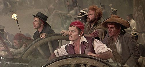 """A """"Buccaneer"""" scene from the Battle of New Orleans, with Yul Brynner as Jean Laffite, at Battery No. 3."""