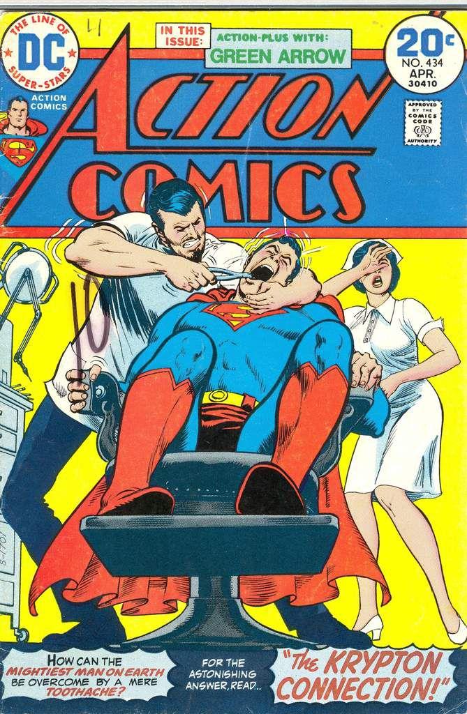 Ja auch Superman musste mal zum Zahnarzt und hatte wie ersichtlich keinen Spaß, sieht so aus als würde man sagen wollen das selbst Superhelden nicht gerne zum Zahnarzt gehen :P