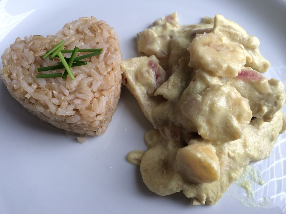 Poulet coco/bananes au curry Bataille Food#15