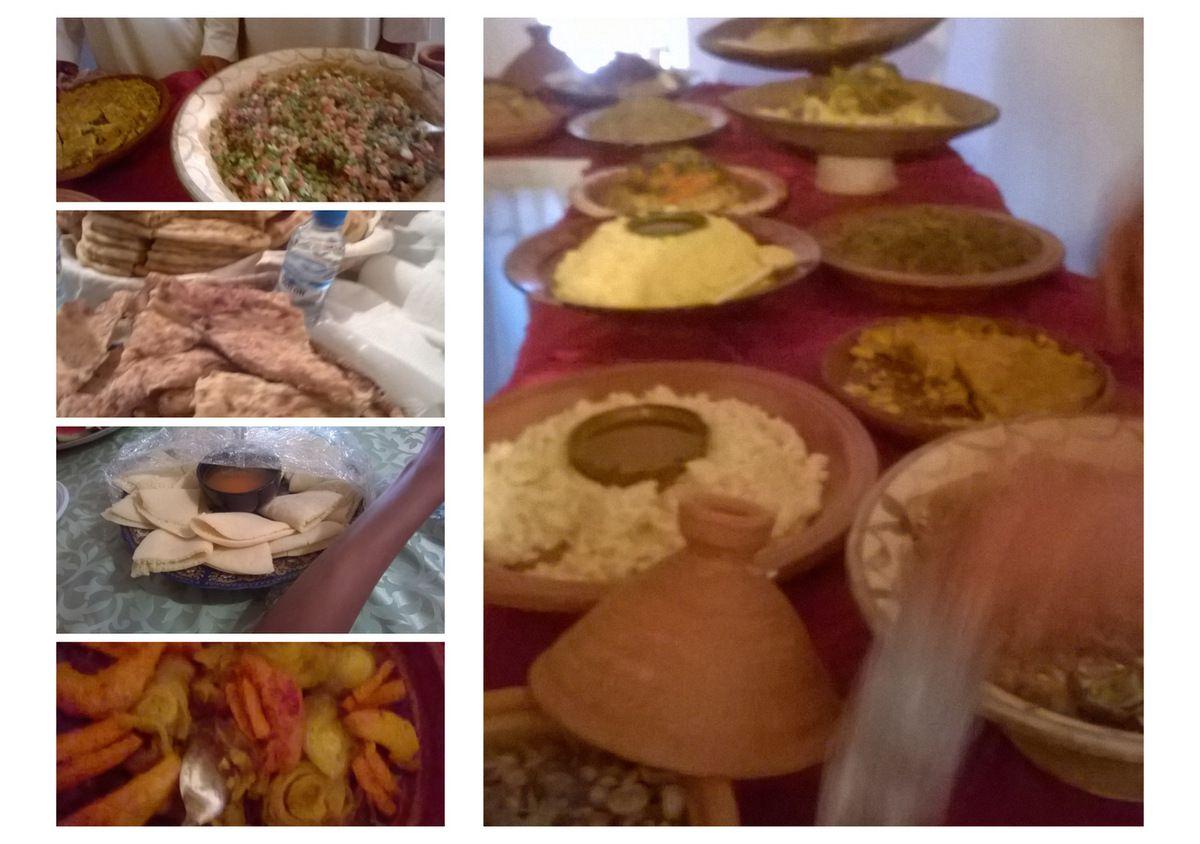 Exposition et dégustation de plats typiques de la culture Amazighe : Semoule d'orge, de maïs avec l'huile, couscous aux légumes et à la viande, tajines aux figues fleurs, aux coings, et j'en passe...