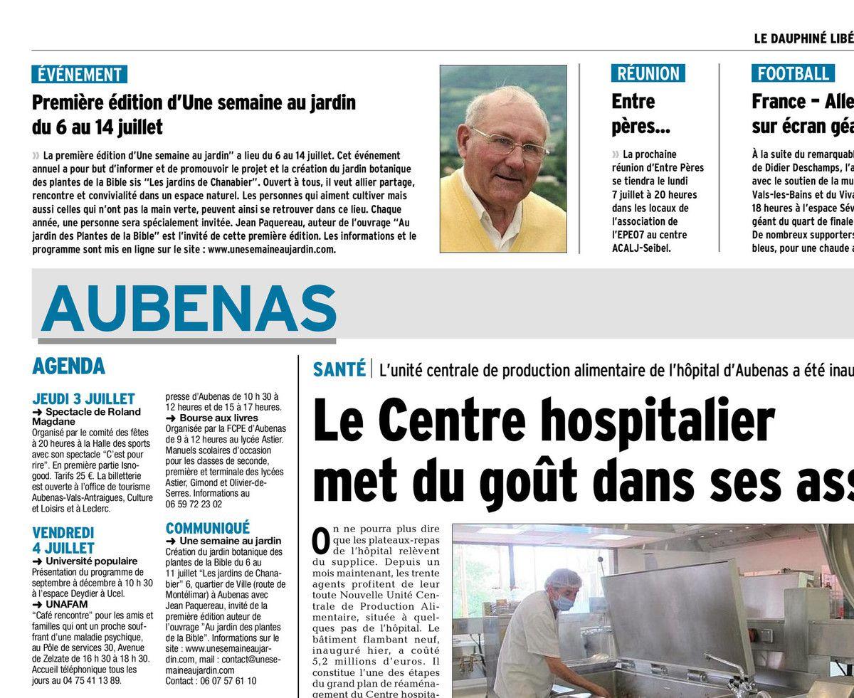 Le Dauphiné libére du 03/07/2014 édition Ardèche méridionale