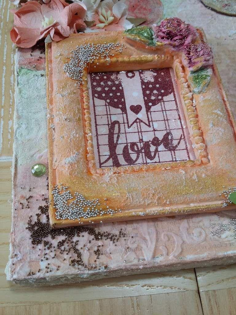 Toile &quot&#x3B;Love&quot&#x3B; en mixed media - Mixed media canvas &quot&#x3B;Love&quot&#x3B;