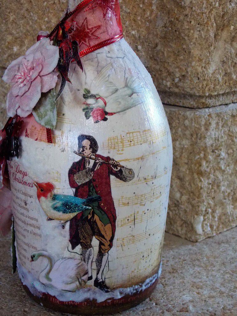 Bouteille altérée de Noël - Christmas altered bottle