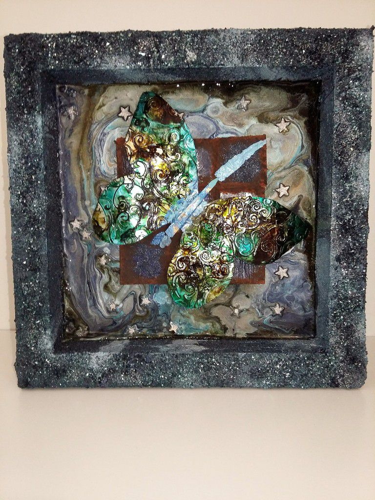 Cadre Papillon Challenge Our mixed media moods - Butterfly frame Our mixed media moods Challenge