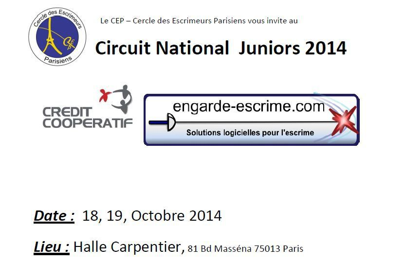 Actualité Compétition - Circuit National Fleuret Juniors - 18 & 19 octobre 2014 à la Halle Carpentier