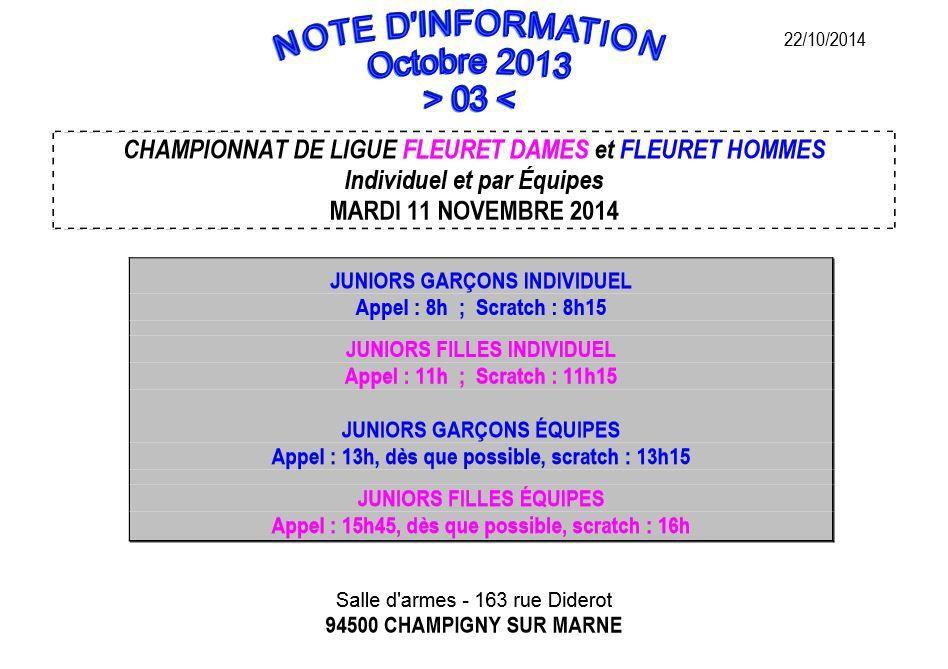 Actualité Compétition - Championnat de Ligue Fleuret Juniors Individuel et par Equipes- 11 novembre 2014 à Champigny