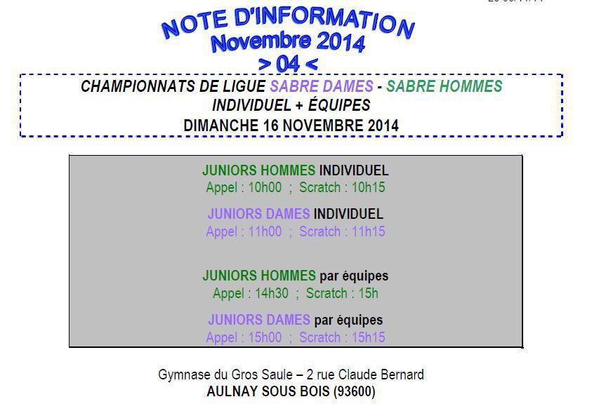 Actualité Compétition - Championnat de Ligue Sabre Juniors Individuel &amp&#x3B; Equipes - 16 novembre 2014 à Aulnay sous Bois