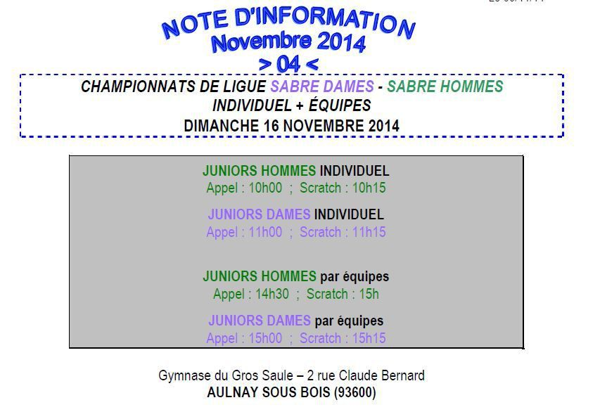 Championnat de Ligue Sabre Juniors