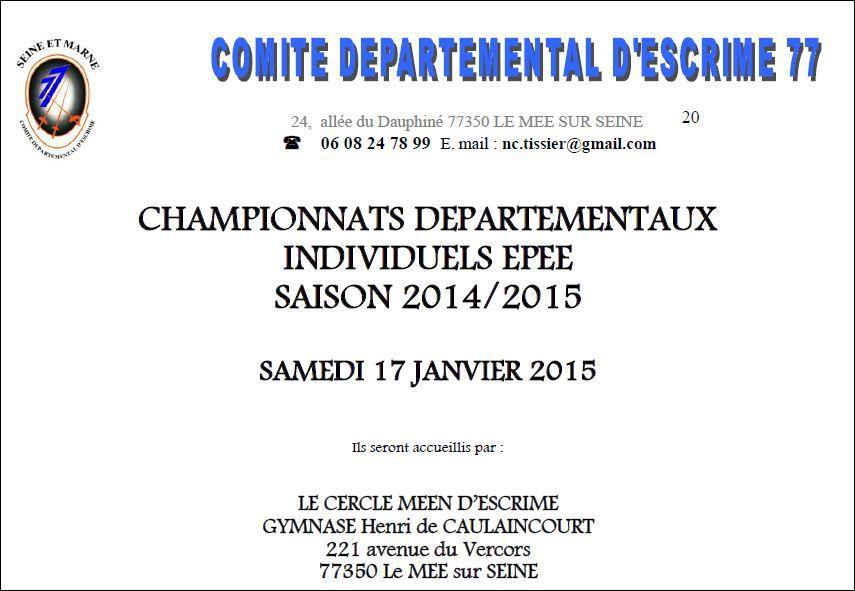 Actualité Compétition - Championnats Départementaux Individuel Epée - 17 janvier 2015 Le Mée sur Seine