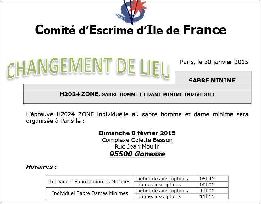 Actualité compétition - Changement Lieu H2024 Sabre du 08 février 2015 à Gonesse