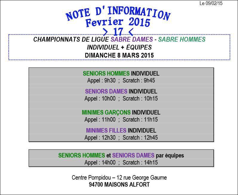 Actualité compétition - Championnat de Ligue Sabre Séniors individuel &amp&#x3B; equipes le 08 mars 2015 à Maison Alfort