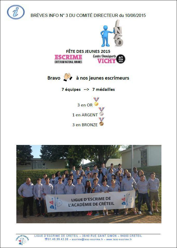 LEAC - Brèves info n° 3 du Comité Directeur - Résultats de la Fête Des Jeunes 2015 - Critérium National Minimes