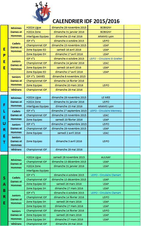 Calendrier IDF Général