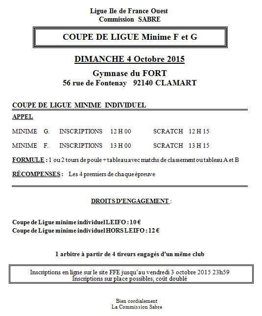 Actualité Compétition - Open Coupe de Ligue Sabre Minimes - 04 octobre 2015 à Clamart