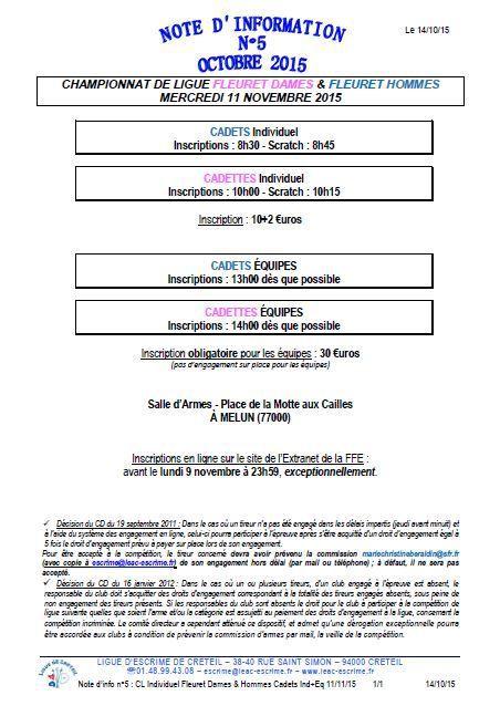 Actualité Compétition - Fleuret Cadettes & Cadets - Championnat de Ligue - 11 novembre 2015 à Melun