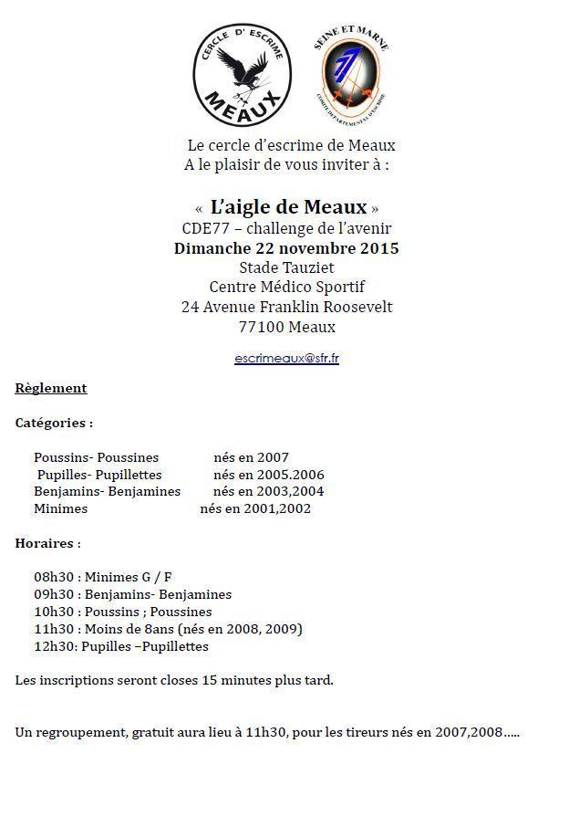 Actualité Compétiton - Challenge L'Aigle de Meaux le 22/11/2015