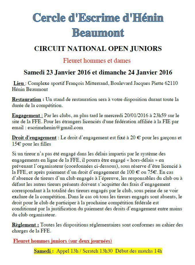 Actualité Compétition - Fleuret Juniors - Circuit National - 23 & 24 janvier 2016 à Hénin Beaumont