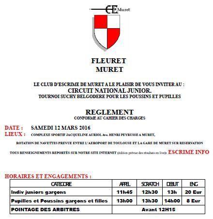Actualité Compétition - Fleuret Juniors - Circuit National - 12 &amp&#x3B; 13 mars 2016 à Muret