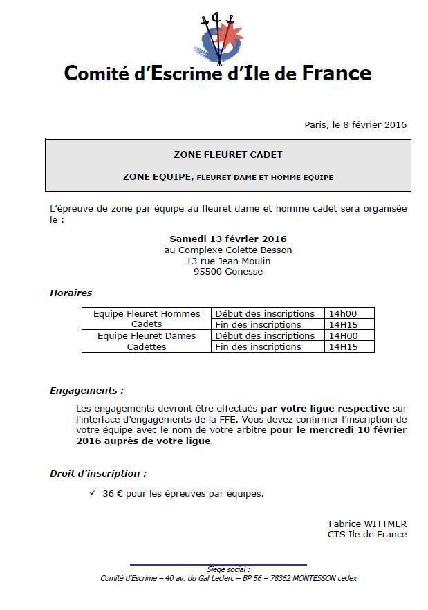 Actualité Compétition - Zone équipe Cadets Fleuret - 13 février 2016 à Gonesse
