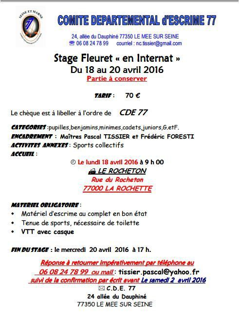 Stage CDE 77 - Vacances printemps -