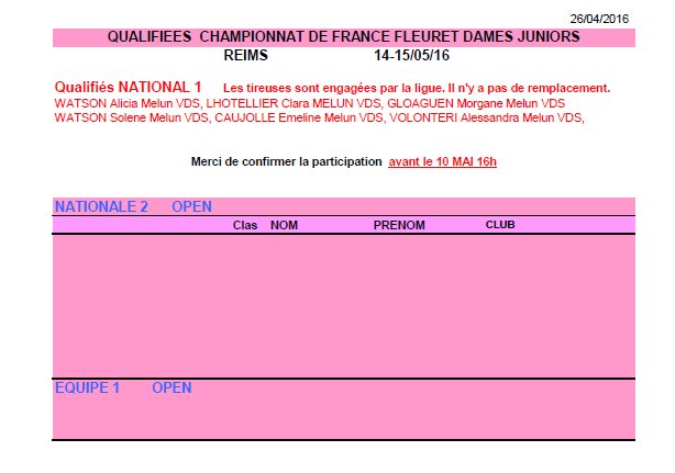 Qualifications Championnats de France Fleuret Juniors - 14 & 15 mai 2016 à Reims