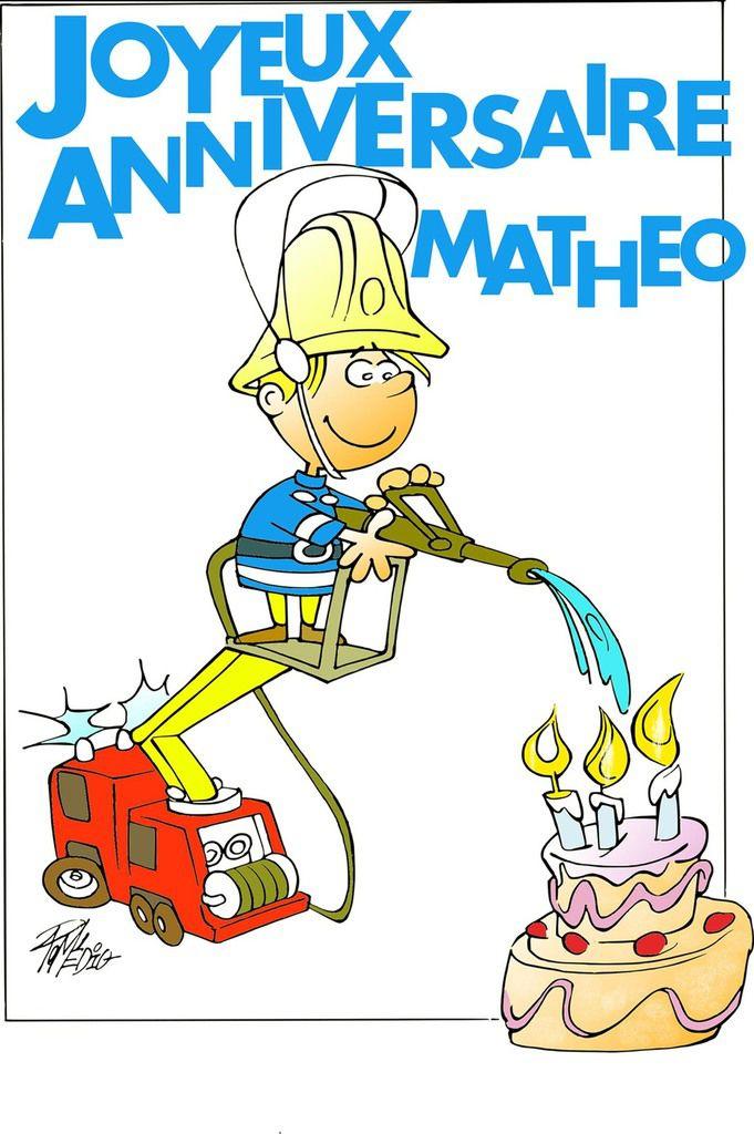 Dessin que j'ai réalisé pour les 3 ans de mon petit-fils Mathéo, fan de Sam le Pompier