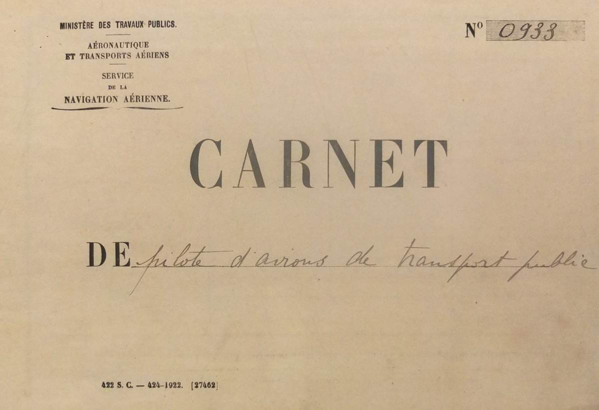 Carnet de vol de Saint-Exupéry (1926)  © Versailles in my pocket​