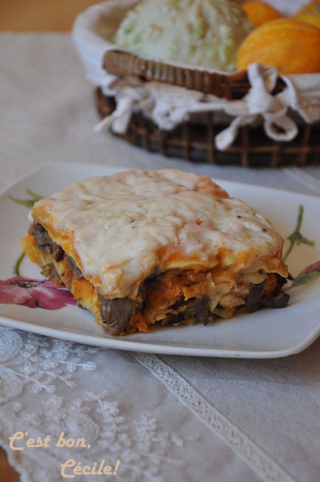 Lasagnes butternut, champignons et oignons caramélisés au balsamique