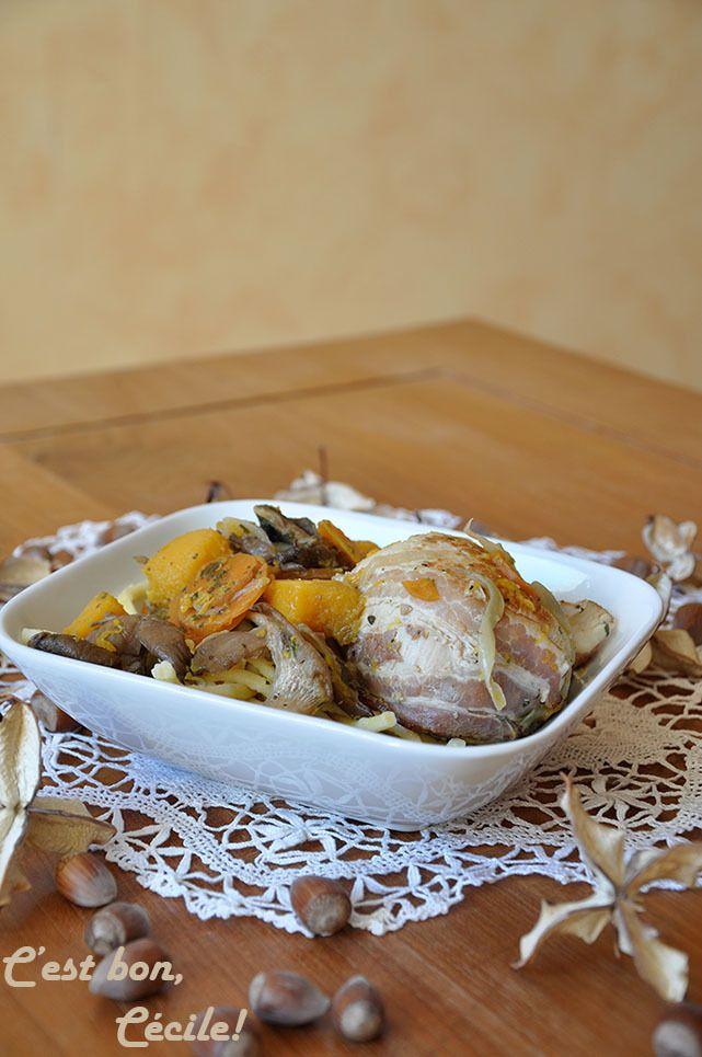 Paupiettes de volaille aux légumes d'automne (butternut et pleurotes)