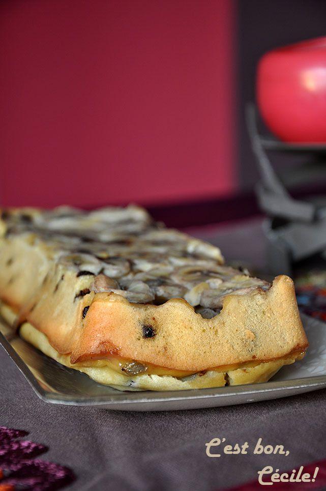 Gâteau au fromage blanc, banane, pépites de chocolat (sans beurre)
