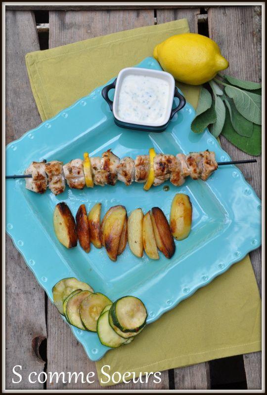Brochettes de dinde à la sauge et au citron