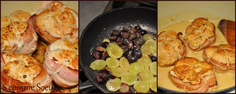 Paupiettes de dinde au comté, sauce cidre et raisin