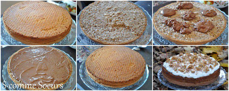 Gâteau au Noix fourré au chocolat, Chantilly et noix caramélisées