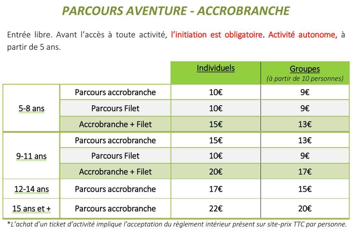 tarifs prix accrobranche explora parc saint-jean-de-monts