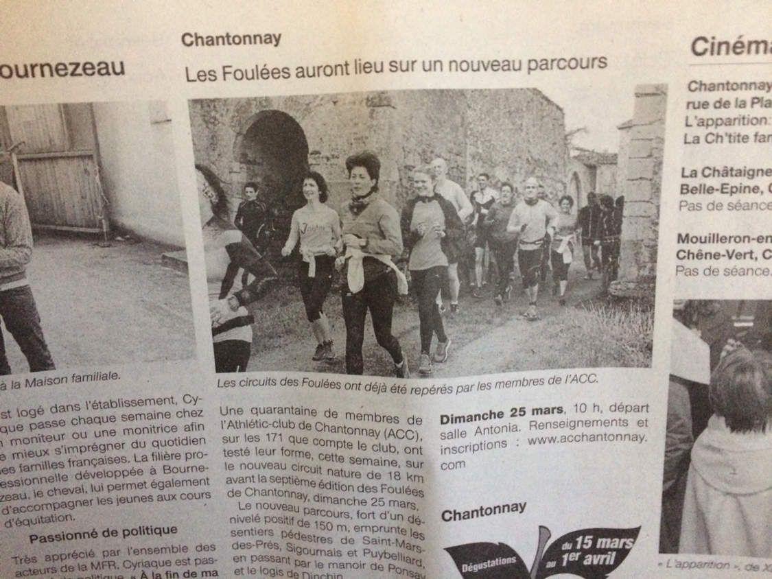 Foulees de Chantonnay la presse en parle