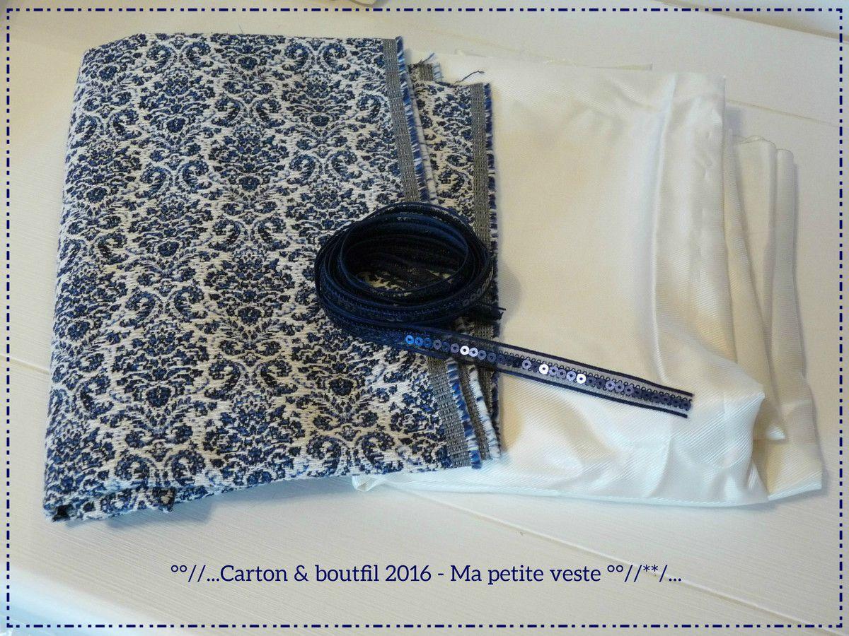 Tissu et galon myrtille Angers - Doublure de ma réserve