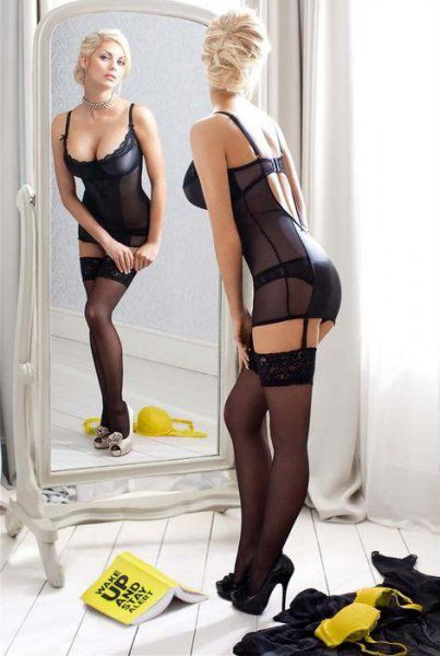 Femme - Blonde - Sexy - Lingerie - Miroir - Picture - Free